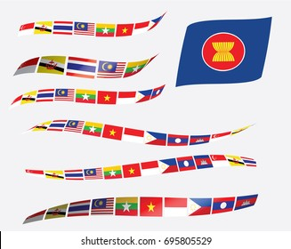 wave of AEC flag and ASEAN flags