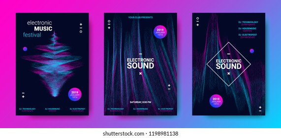 Wave Amplitude of Sound. Electronic Music Poster with Distorted Rounds and Wave Dotted Lines. Futuristic Flyer Concept for Dance Event. Vector Equalizer Design for Banner, Brochure. Movement of Dots.