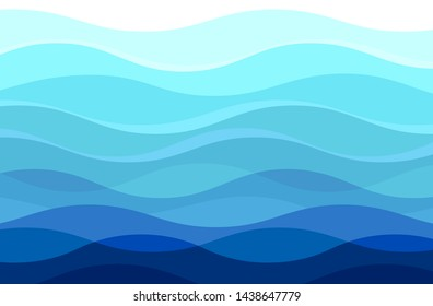 Wave background, blue color transparent water surface - horizontal vectorl image
