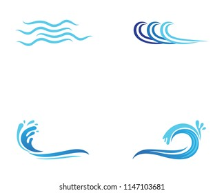 Wave beach logo and symbols vector template icons