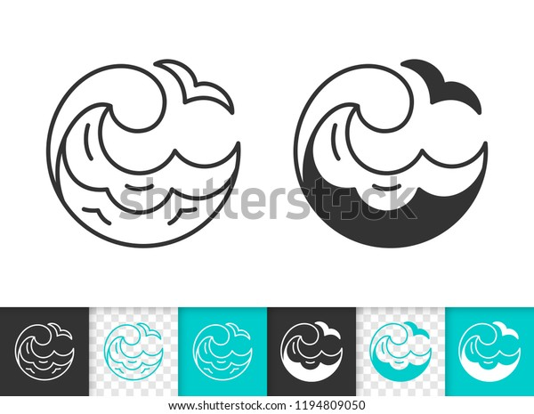 Wave Black Linear Silhouette Icons Thin Stock Vector