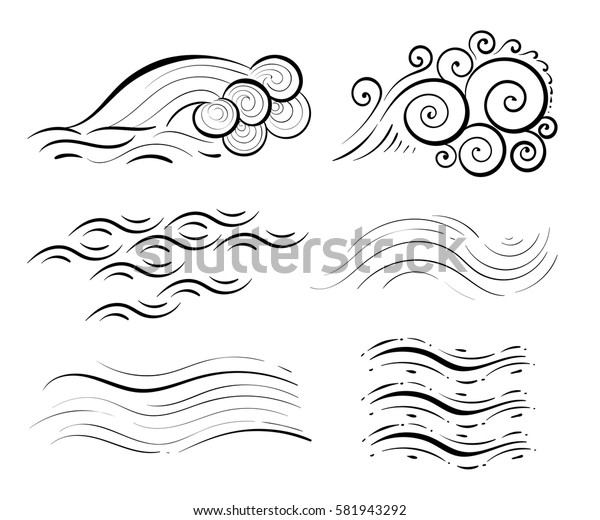 Wave collection Ocean or sea waves, surf and splashes set curling Water Design Elements vector illustration isolated on white
