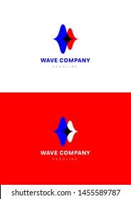 Wave corp company logo template.