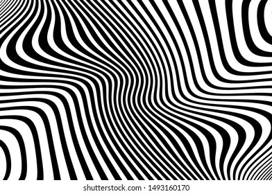 Wave design black and white. Digital image with a psychedelic stripes. Vector illustration