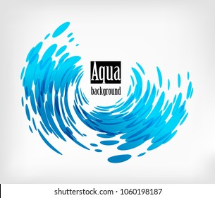 Wave element on white background, splash water, frame shape