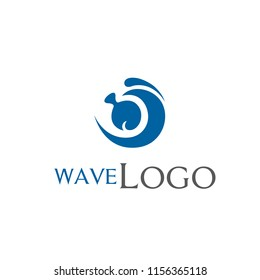 wave  and fish logo