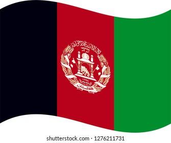 Wave Flag Of Afghanistan Vector