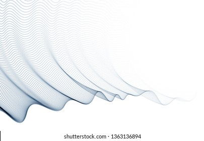 Wave of flowing particles modern relaxing illustration, transparent tulle textile on wind. Round dots vector abstract background. Beautiful wave shaped array of blended points.
