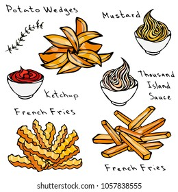 Wave Form French Fries, Potato Wedges, Bowl of Red Tomato Ketchup, Mustard, 1000 Island Sauce, Mayonnaise. Fried Potato. Street Fast Food. Realistic Hand Drawn Illustration. Savoyar Doodle Style.