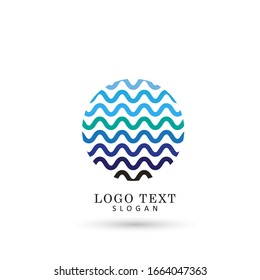Wave & Fresh Water Logo. Symbol & Icon Vector Template.