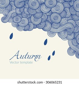 Wave hand-drawn doodle. Vector wavy background with raindrops. Autumn theme. Can be used for tickets, congratulations, label, etc