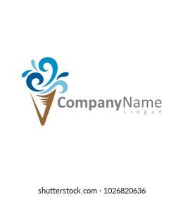 Wave Ice Cream Logo Template