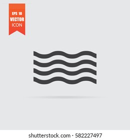 Wave icon in flat style isolated on grey background. For your design, logo. Vector illustration.