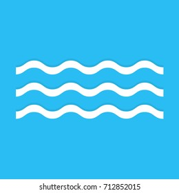 Wave icon isolated on blue background. Vector illustration. Eps 10.