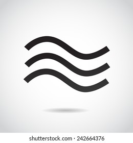 Wave icon isolated on white background. Vector illustration.