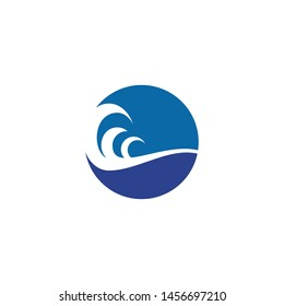 Wave icon logo design vector template