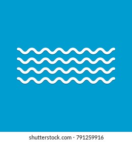 Wave icon vector on blue background