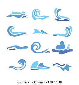 Wave Icons Vector. Ocean Water Design Element. Isolated Illustration
