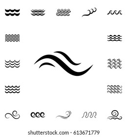 Wave Icons or Water Liquid Symbols Isolated on White. Sea, River or Oceanic Flowing Sign, Bending Lines