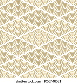 Wave Japanese pattern. Gold drawing curve background.