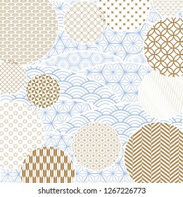 Wave with Japanese pattern vector. Line geometric background.