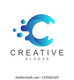 wave letter c logo template
