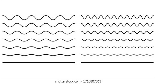 Wave line and wavy zigzag lines. Vector black underlines, smooth end squiggly horizontal, squiggles.