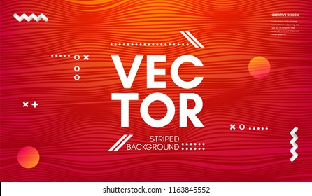 Wave Lines. Abstract Geometric Template with Distorted Stripes and Gradient. Flow Wavy Background in Minimal Style. Eps10 Vector. Movement and 3d Effect. Dynamic Wave Illustration for Cover, Poster.