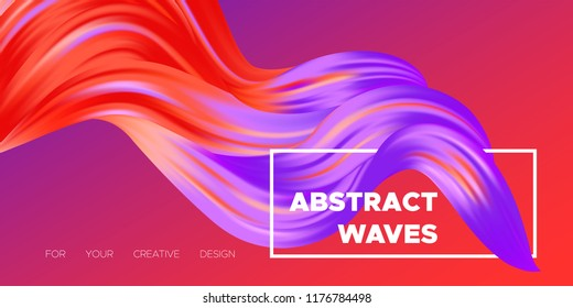 Wave Liquid Shape. Abstract Fluid Background. Trendy Illustration EPS10 Vector. Creative Interweaving. Art Paint Design. Colorful Liquid Shapes with Flow Effect for Business Poster, Banner, Cover.