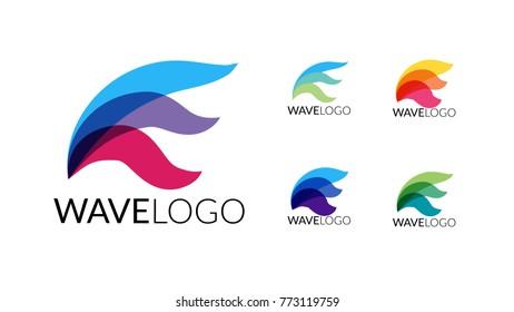 Wave Logo in five color combinations. Vector