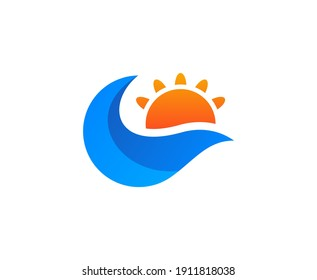 Wave logo sunset vector icon