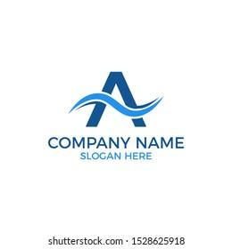 A wave logo vector. Water wave template for logo. Beach outdoor recreation