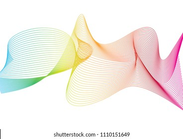 Wave of the many colored lines pattern and design elements created. Creative line art or abstract ribbon wavy stripes on a white isolated background. Vector illustration EPS 10.