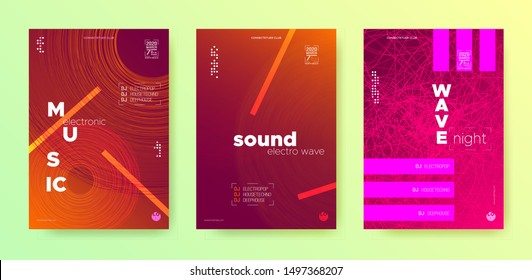 Wave Music Fest. Electronic Party. Music Dance Poster. Light Dj Banner. Color Fluid Abstract. Electronic Round. Glow Music Festival Poster. Dj Event. Orange Gradient Banner.
