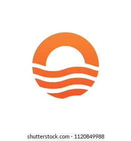 Wave or oasis with letter O logo design vector template