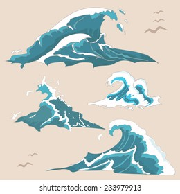 Wave ocean and sea Collection set isolated