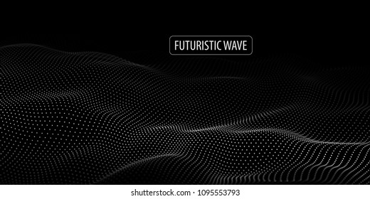 Wave of particles. Abstract background with a dynamic wave. Big data. Vector illustration.