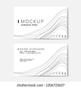 Wave pattern name card mockup vector