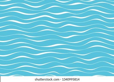 Wave pattern seamless abstract background. Stripes wave pattern white on blue background for summer vector design.