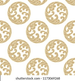 Wave pattern vector. Gold Japanese  crest icon background.