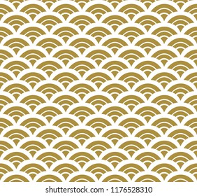 Wave pattern vector in Japanese style. Gold geometric background.