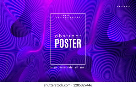 Wave Poster with Fluid Shapes. Gradient Abstract Background with Movement of Wave Liquid Forms. Linear Geometric Brochure in Trendy Ultraviolet Color. Purple Neon Concept with Abstract Waves.