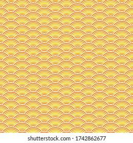 Wave ramen pattern. Seamless sea pattern, abstract asian background. Fish print with circle