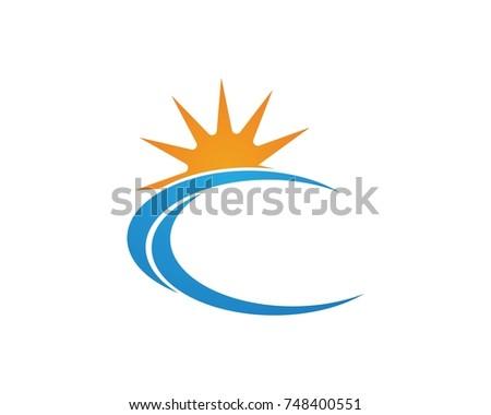 Wave Sea Logos Symbols Stock Vector Royalty Free 748400551