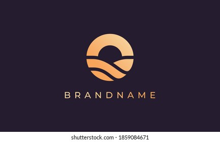 wave of sea water and sun in the form of abstract circle in gold are suitable for logo and icon