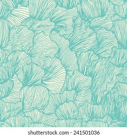 Wave seamless pattern in doodle style. Sea background. Ocean texture. Vector illustration in vintage design.