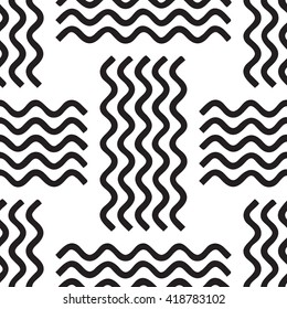 Wave seamless vector pattern. Hand drawn monochrome modern background. Wave icon pattern isolated on white