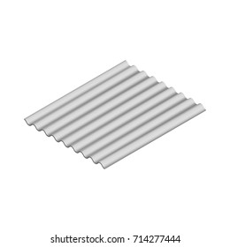 Wave slate sheet isolated on white background, horizontal arrangement. Element of the design of building materials. 3D isometric style, vector illustration.