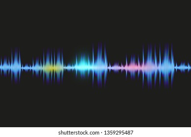 Wave sound abstract design. Background music flow soundwave light line on dark backdrop. Pattern digital audio soundtrack of line. Vector illustration.