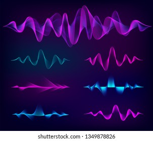 Wave sound vector set. Music soundwave design, color elements isolated on dark background. Radio frequency lines and dots.